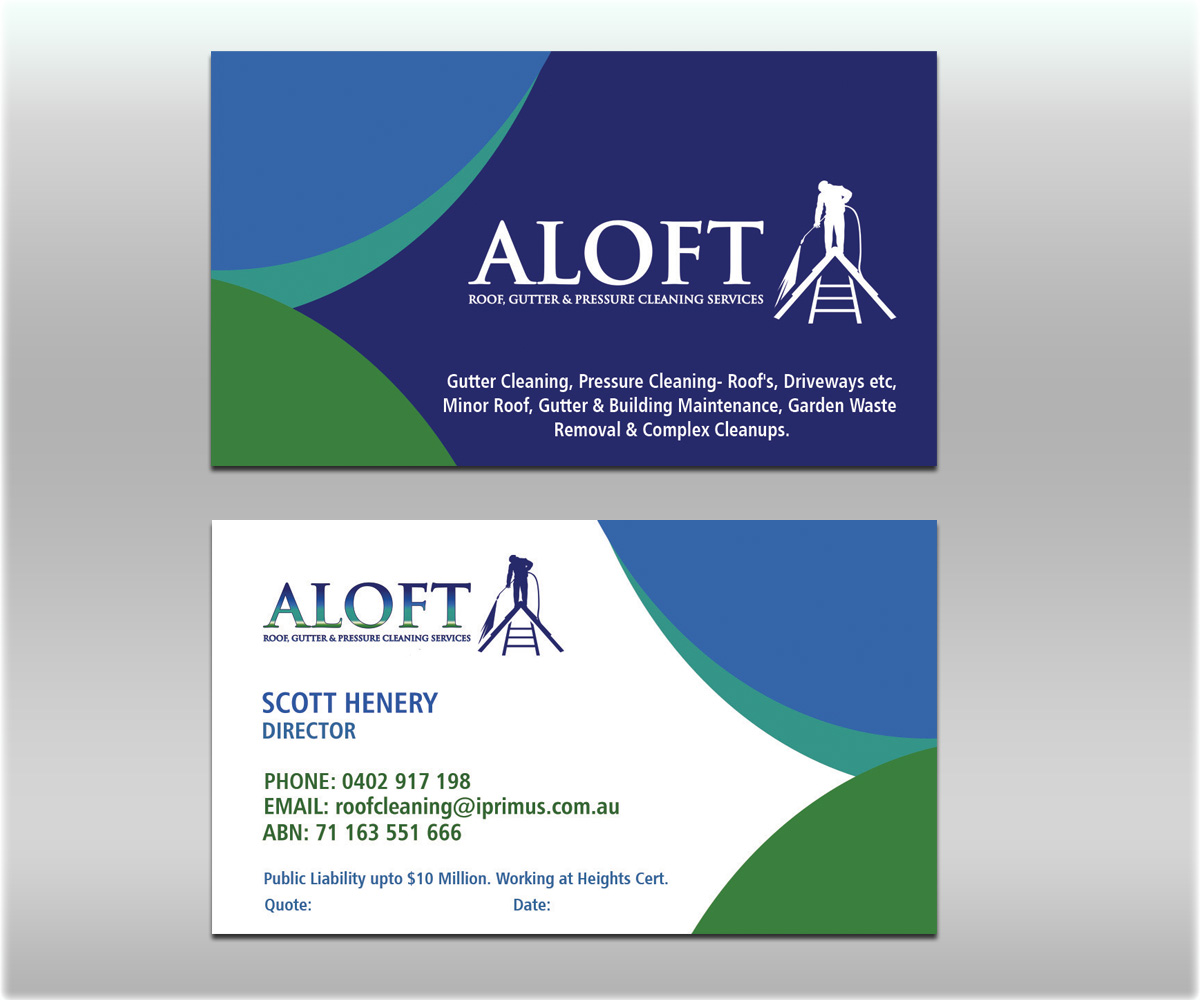 Business card design for aloft roof gutter pressure cleaning business card design by smart designs for new business card for building services company design magicingreecefo Gallery