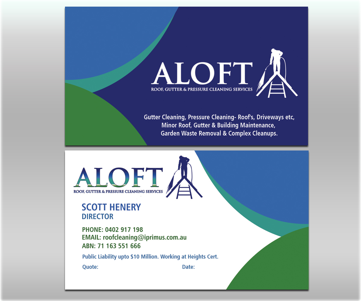 Business Card Design for Aloft Roof, Gutter & Pressure Cleaning ...