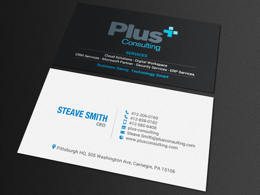 Modern Bold Consulting Business Card Design For Plus Consulting By