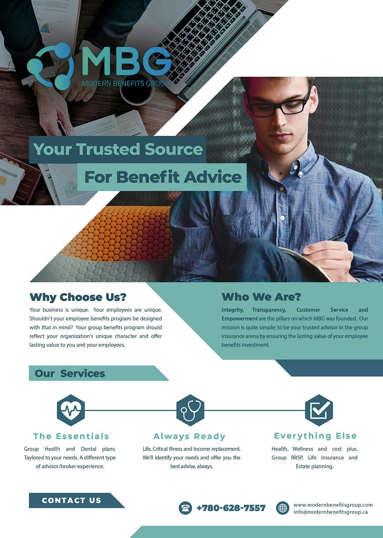 modern upmarket insurance broker flyer design for modern benefits