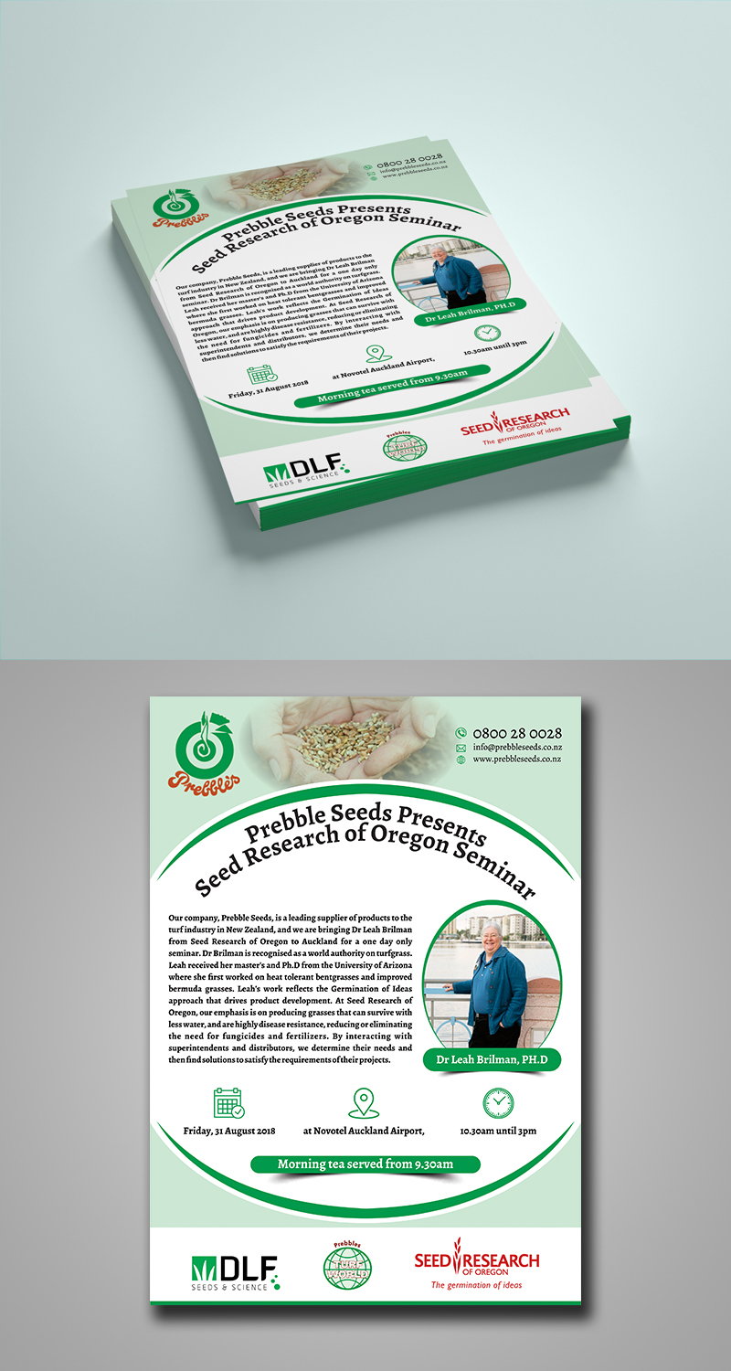 Serious, Modern Flyer Design for Prebble Seeds by ecorokerz