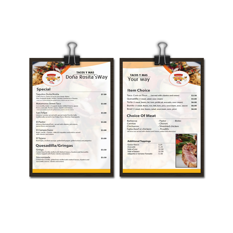 modern professional food truck menu design for tacos doña rosita