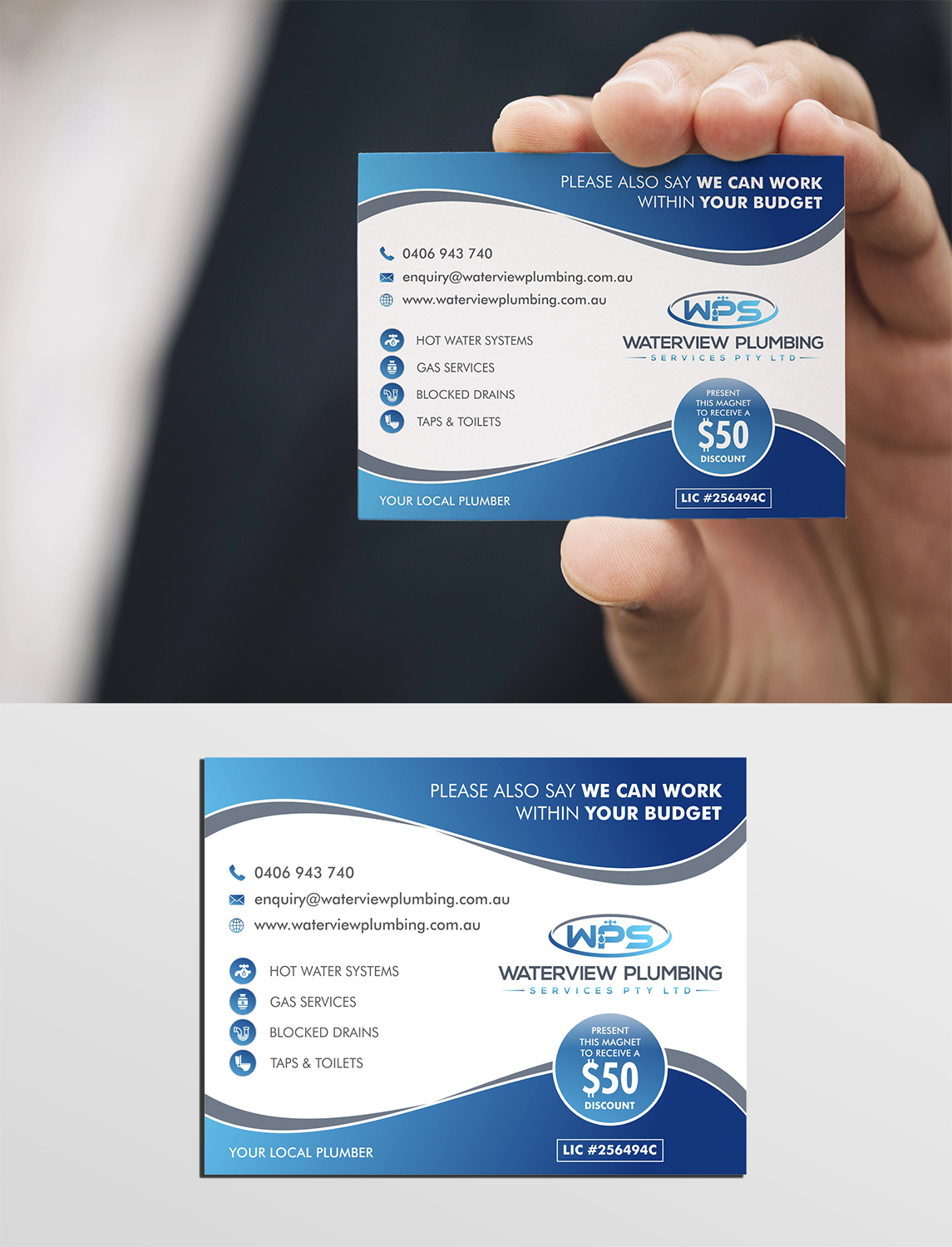 Elegant Playful Plumbing Business Card Design For Waterview