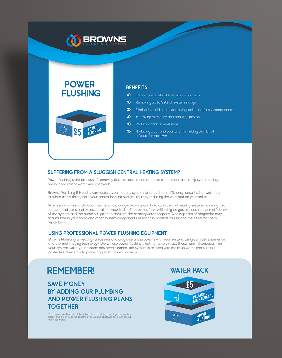 Bold, Serious Brochure Design for Browns Plumbing & Heating Limited ...