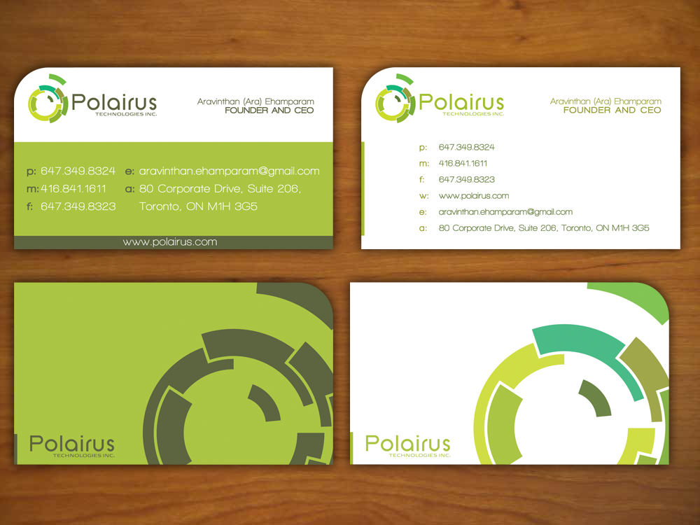 Modern professional software business card design for polairus business card design by kada designs for polairus technologies inc design 64143 reheart Gallery