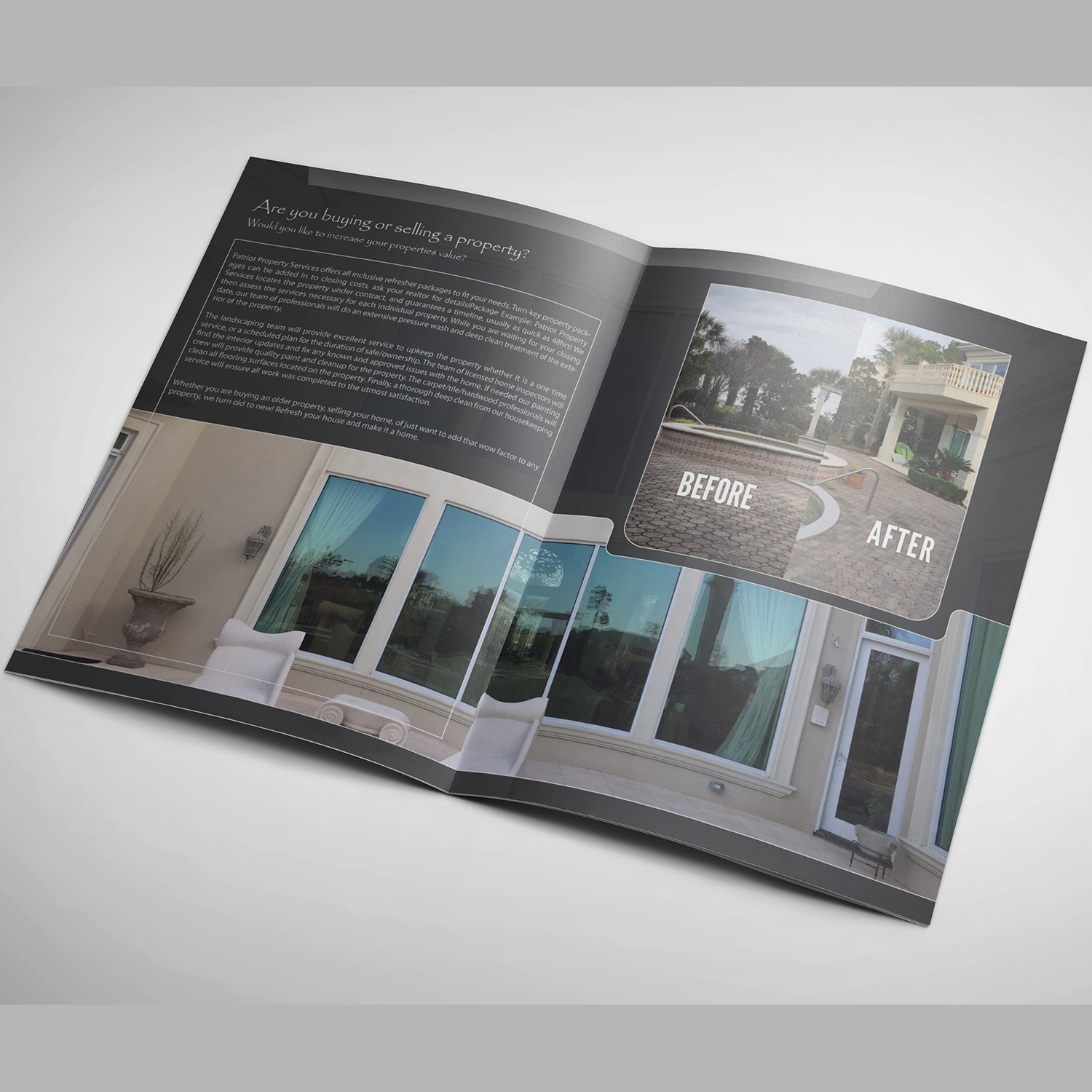 Bold Serious Brochure Design For Patriot Property Services LLC By