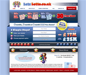 Web Design by Acuity Designs - LetsLotto.co.uk homepage