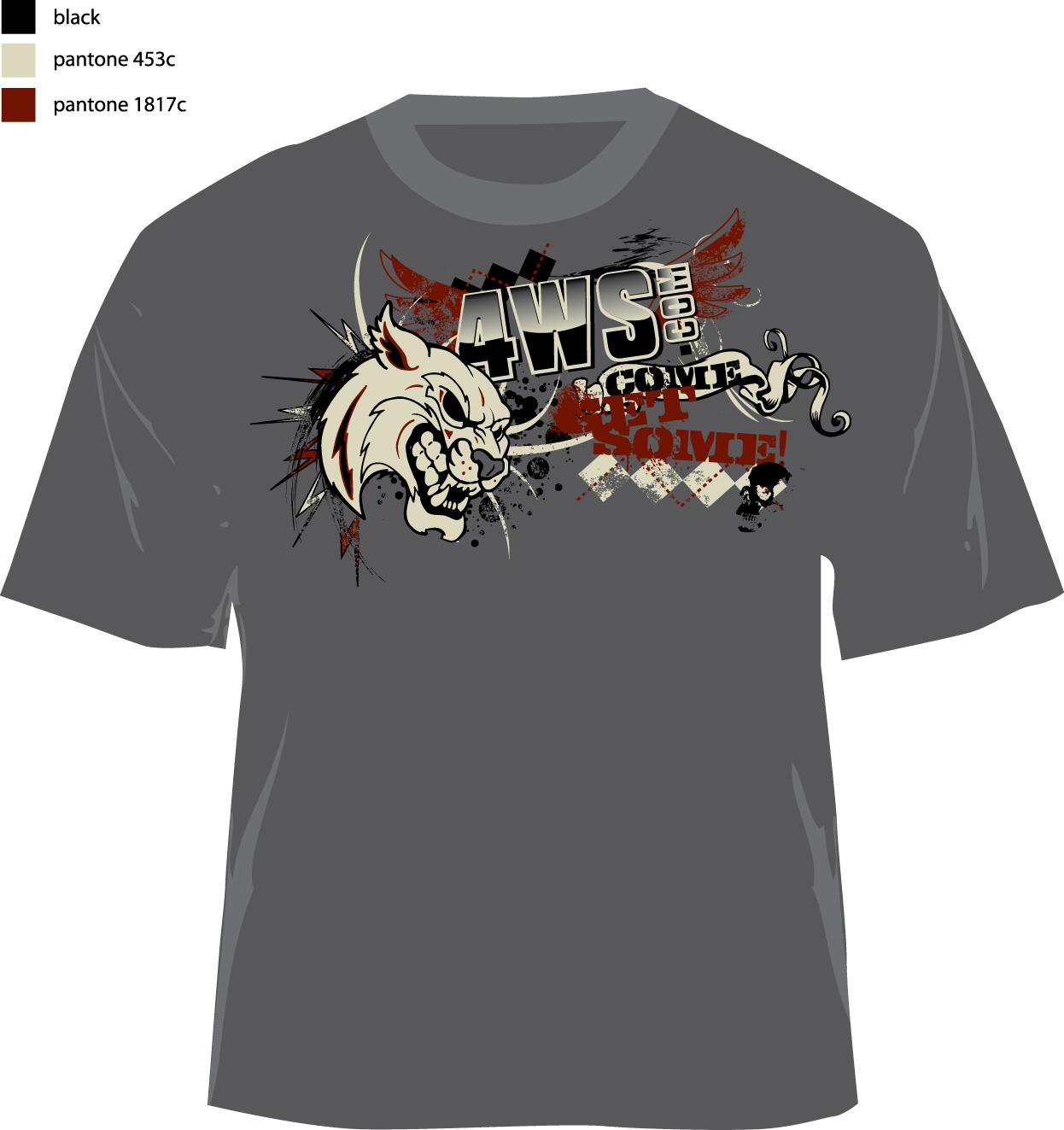Bold playful promo t shirt design for 4ws com by mauve for Design a shirt coupon