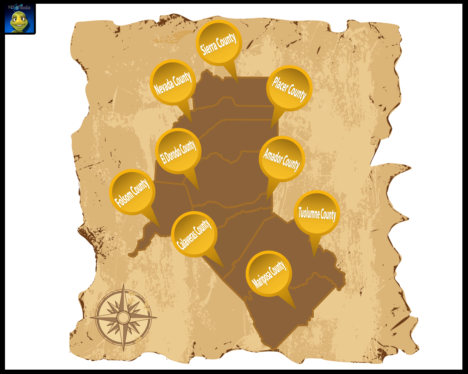 Gold Country Map | 7 Vector Designs for a business in United ... on grand island map, western il map, college station map, michigan gold panning map, us gold mines map, elko map, yolo county map, mother lode map, gold producing countries in africa, hanford map, rio linda map, colfax map, view northern california cities map, boone map, barbary coast map, philadelphia map, amador county winery map, north central fl map, little rock map, ohio gold deposit map,