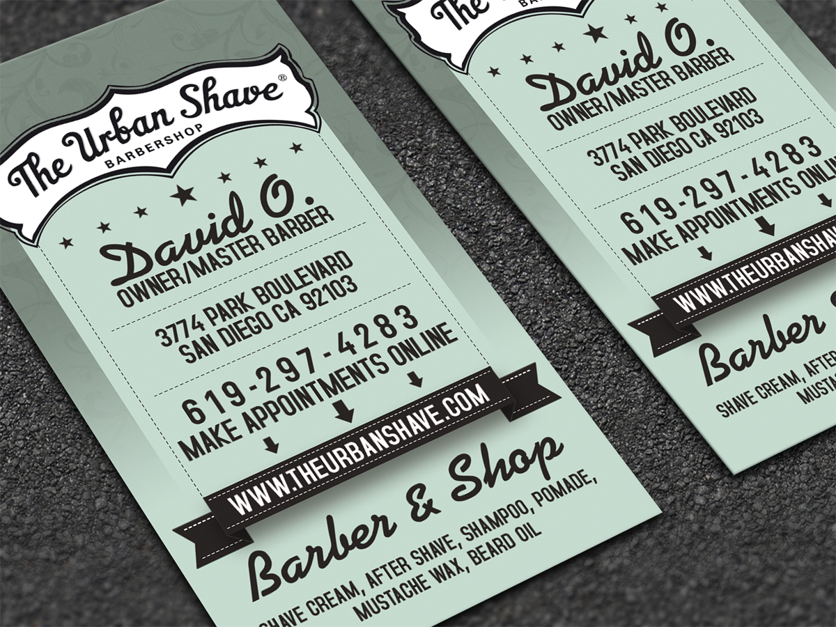Masculine conservative barber business card design for the urban business card design by dirtyemm for the urban shave design 2934828 colourmoves