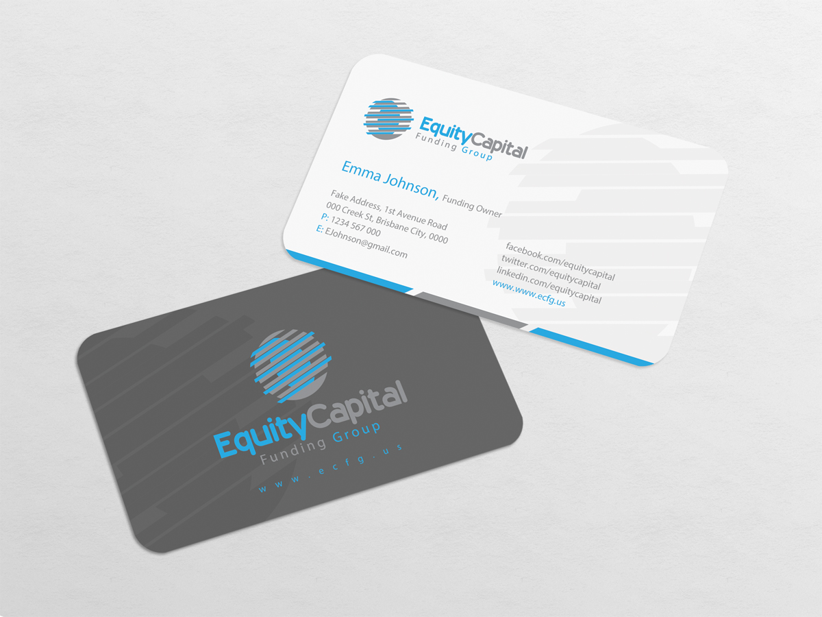 Upmarket bold real estate business card design for equity capital business card design by dirtyemm for equity capital funding group llc design reheart Image collections