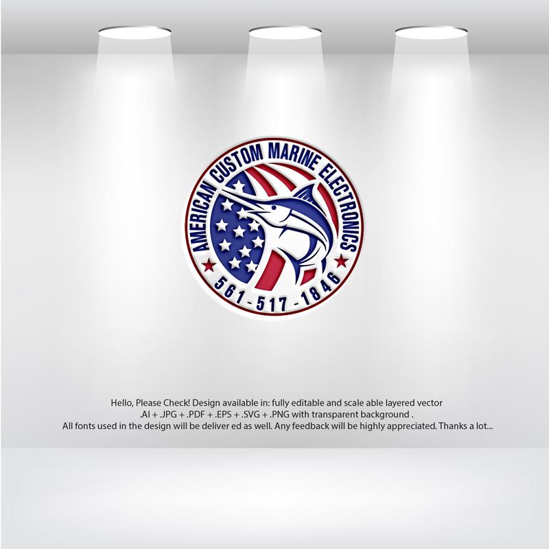 Elegant, Playful Logo Design for American Custom Marine Electronics