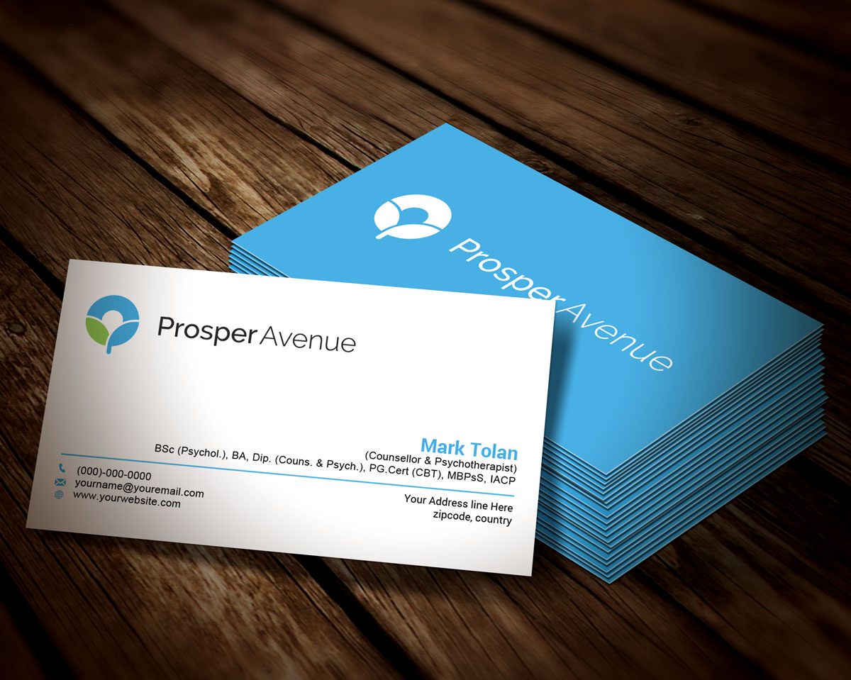 Modern upmarket health and wellness business card design for business card design by joeboro for prosper avenue design 19499388 reheart Images