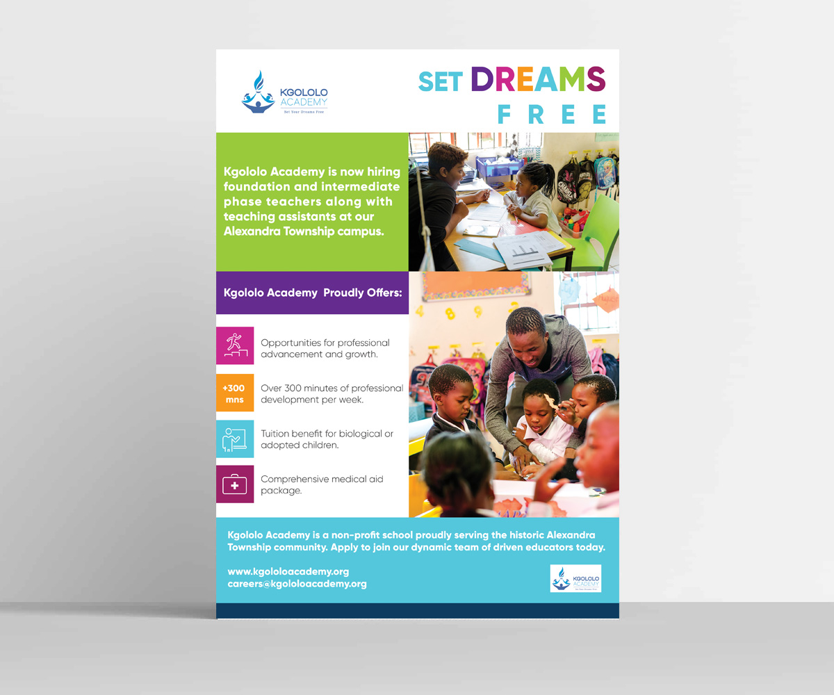 Modern, Upmarket, Education Flyer Design for Kgololo Academy