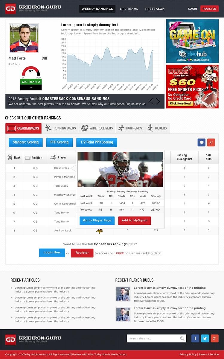 Personable masculine web design for gridiron guru inc by for Masculine web design