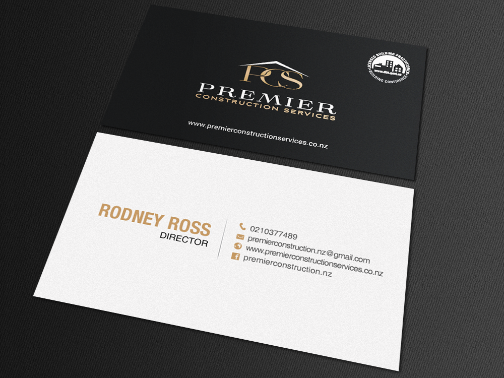 Modern Bold Construction Business Card Design For A