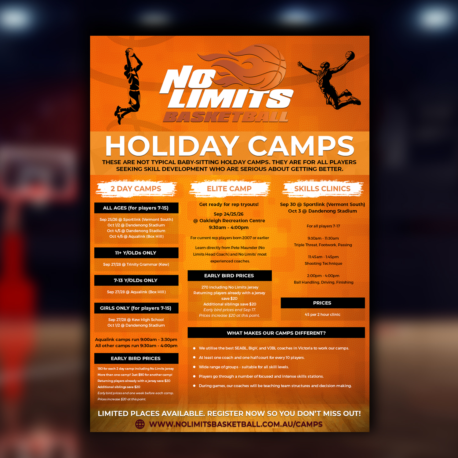 Modern, Professional Flyer Design for No Limits Basketball
