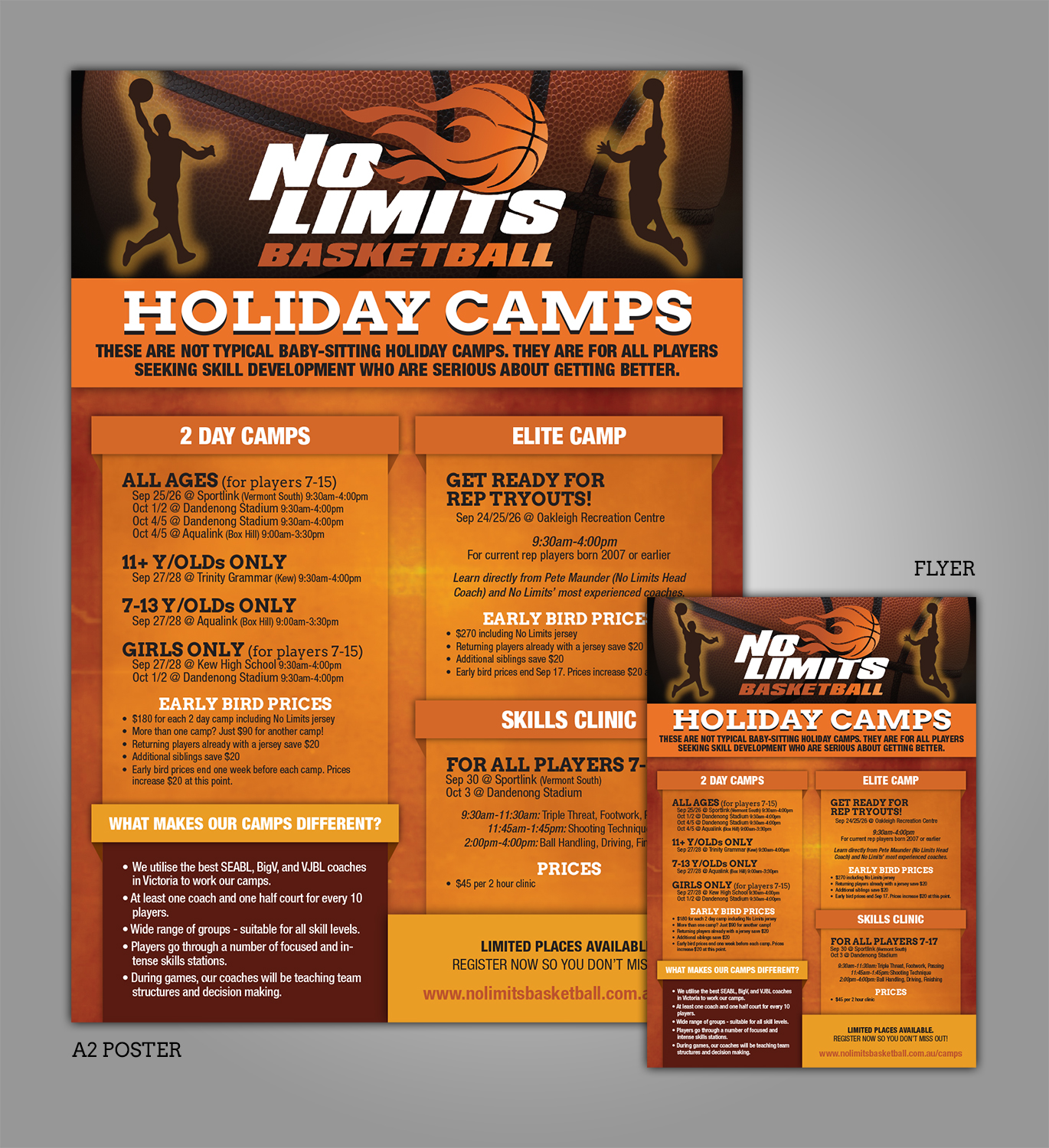 modern professional flyer design for no limits basketball services