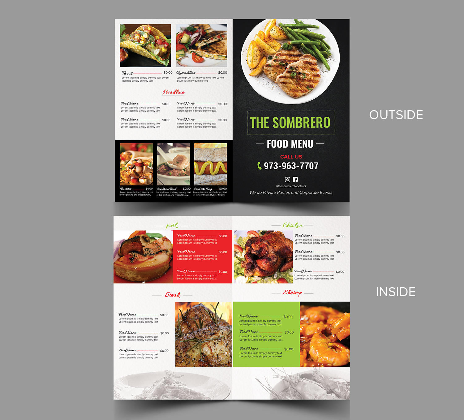 elegant playful menu design for the sombrero food truck by sd
