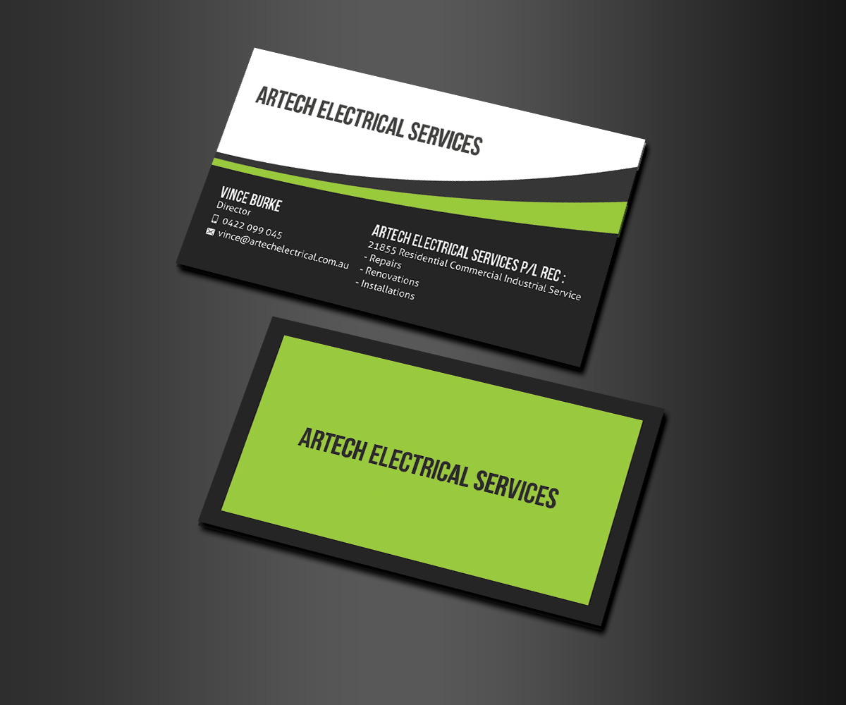 Modern serious business card design for artech electrical business card design by matrix5 creative for electrical contracting business card design design 2907518 magicingreecefo Images