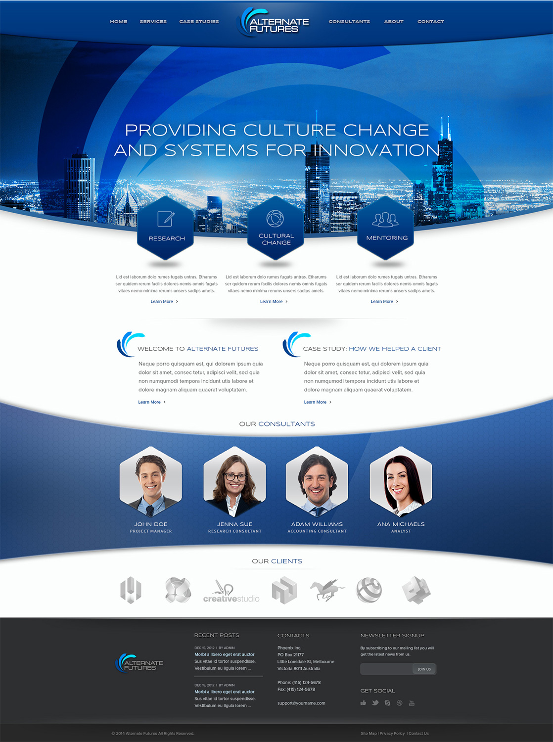 Elegant modern web design for alternate futures pty ltd for Web design consultant