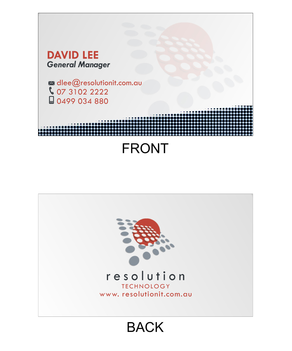 Modern professional software business card design for resolution business card design by gem vila for resolution technology design 2923283 reheart Gallery