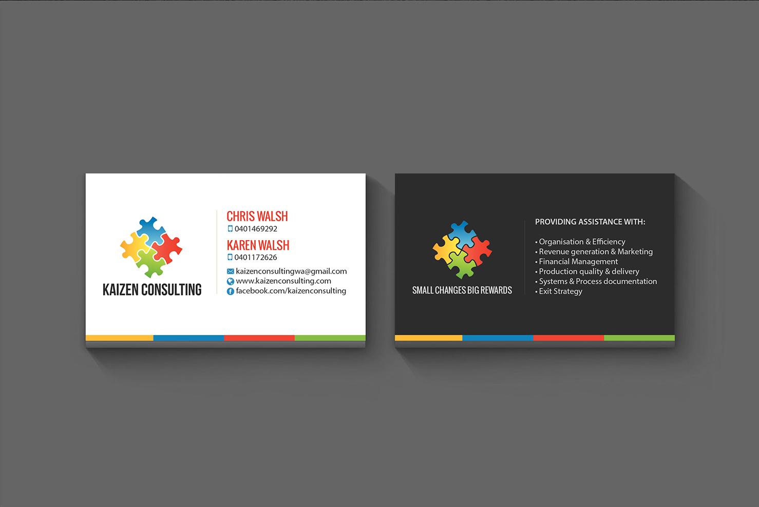 Design De Carte Visite Moderne Sympathique Business Consultant Pour Kaizen Consulting En Aux Australia