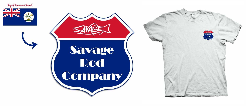 Masculine Elegant Sporting Good T Shirt Design For Savage Rod Co