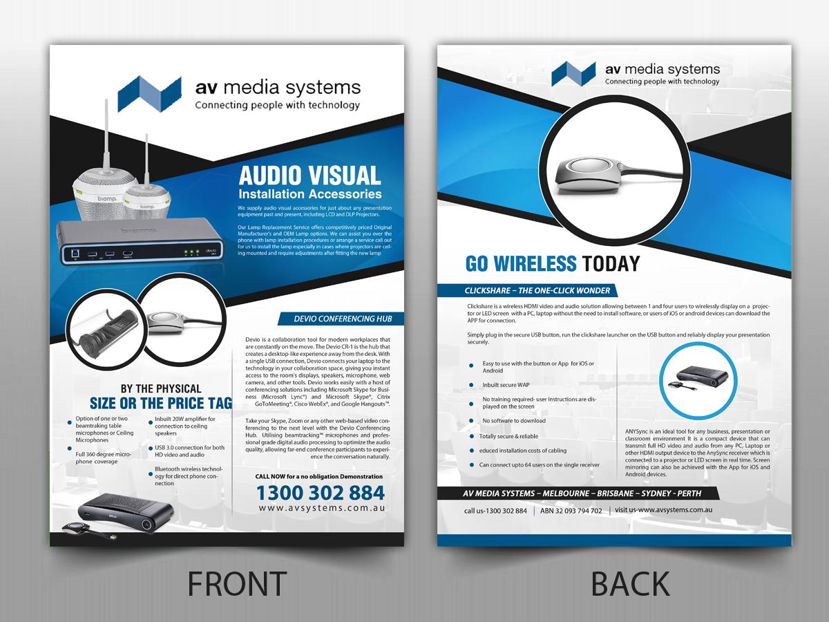 bold playful flyer design for av media systems by pictorial