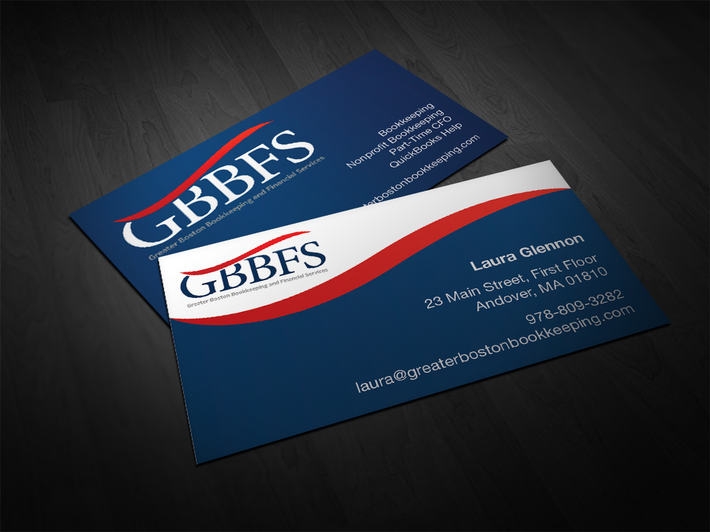 Elegant upmarket accounting business card design for greater business card design by g aubert for greater boston bookkeeping and financial services design reheart Images