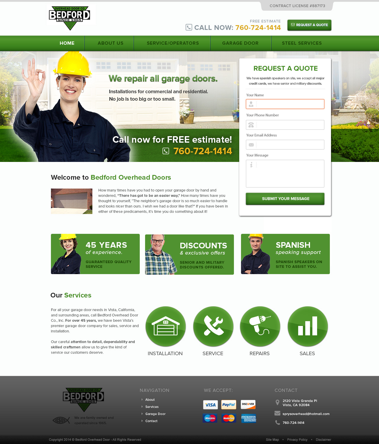 Serious masculine web design for bedford overhead doors for Masculine web design