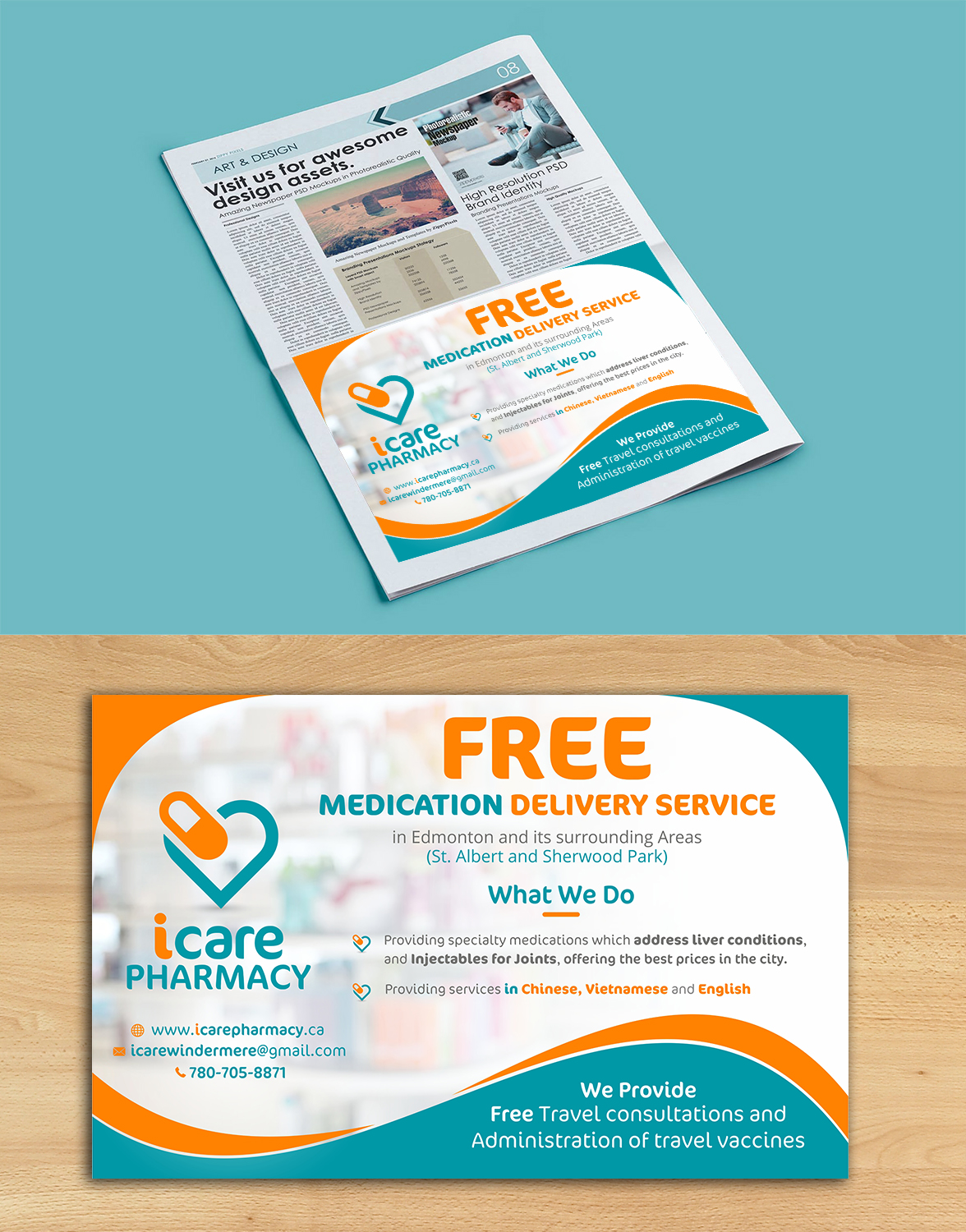 Elegant, Playful, Pharmacy Newspaper Ad Design for a Company