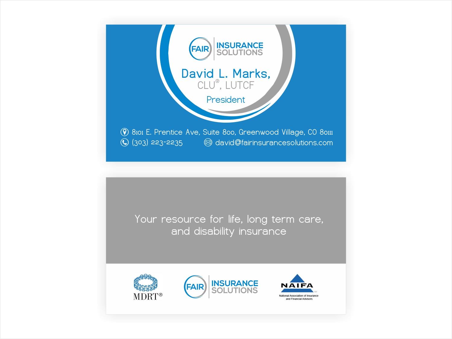 Upmarket Bold Insurance Broker Business Card Design For A