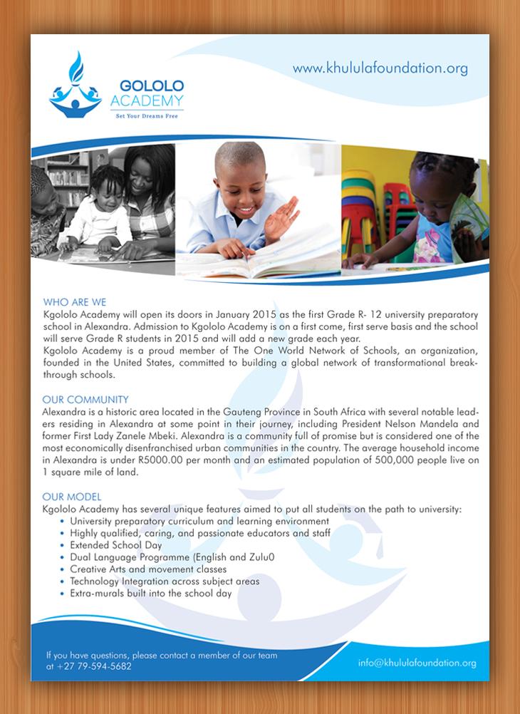 Flyer Design Von Sbss Fur The Khulula Foundation