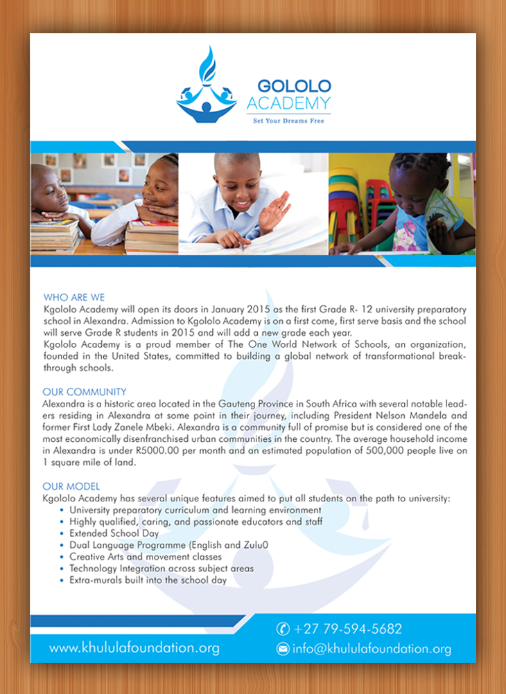 Flyer Design By Sbss For The Khulula Foundation