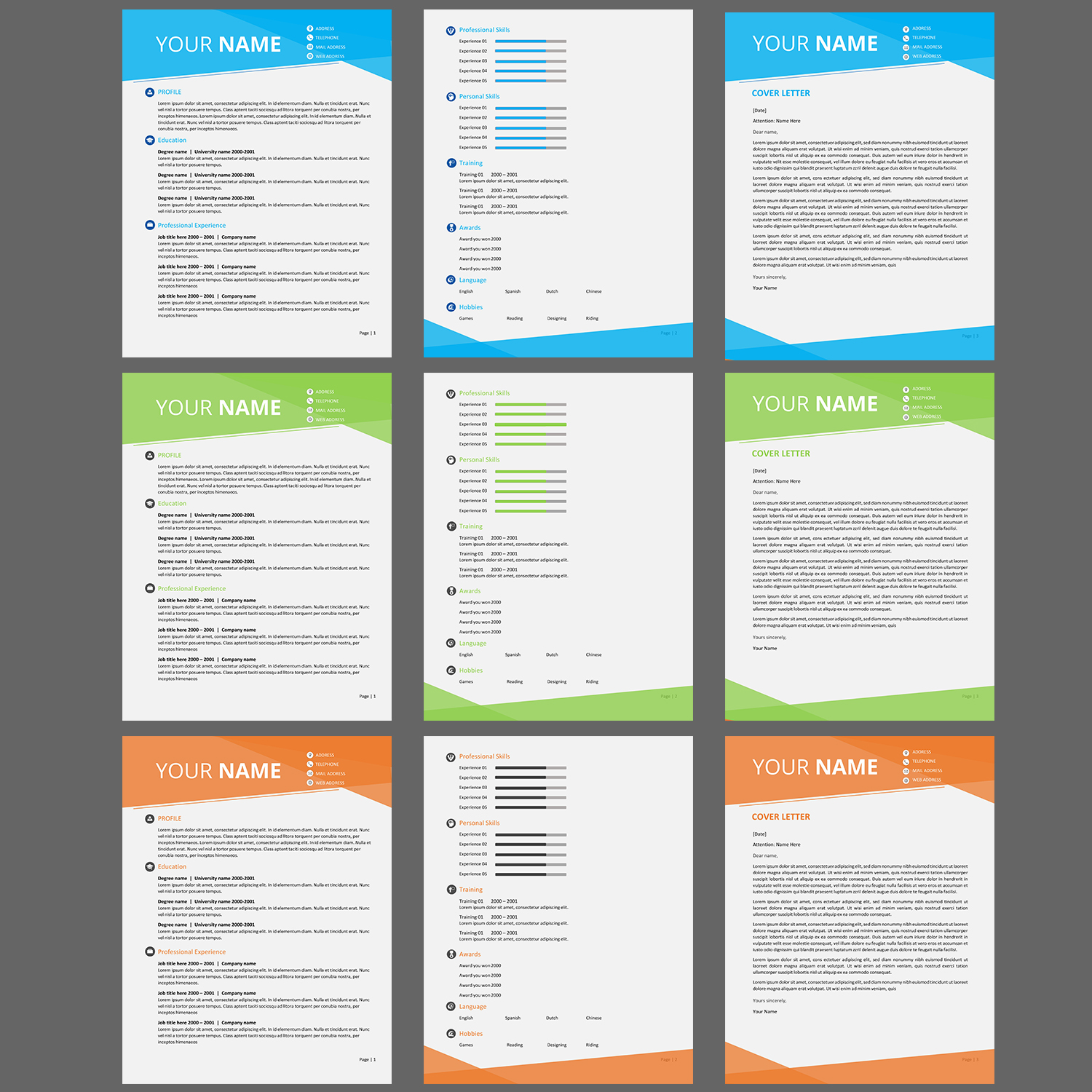Resume/CV/Cover Letter templates | 10 Word Template ...