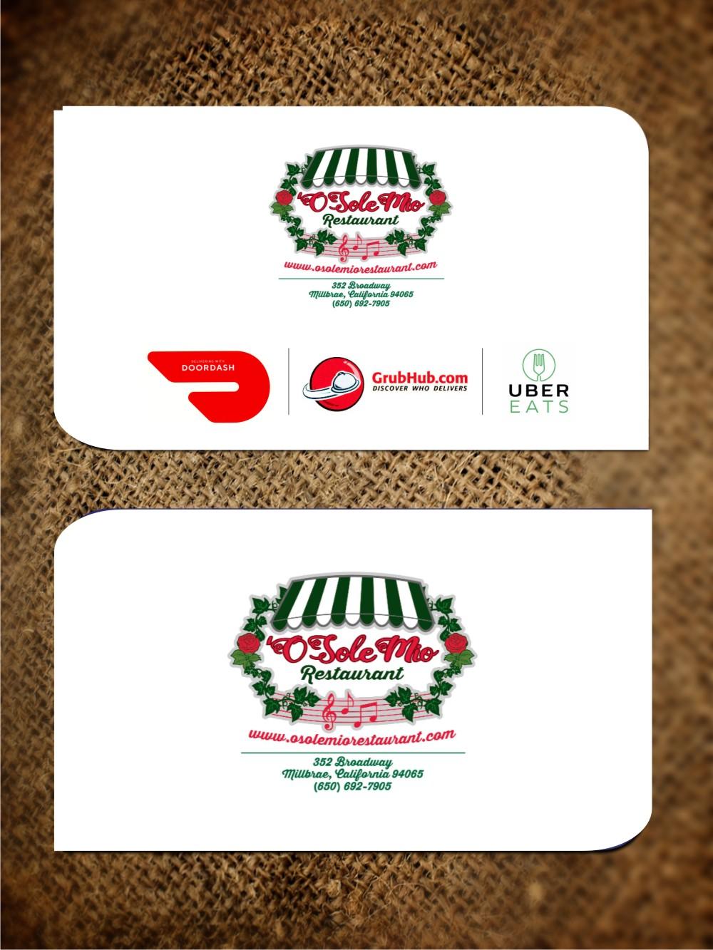 Design De Carte Visite Par Jagtar Singh 4 Pour OSole Mio Restaurant
