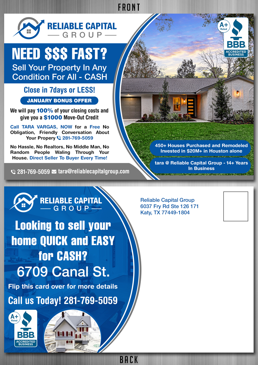 Serious Upmarket Real Estate Postcard Design For A Company