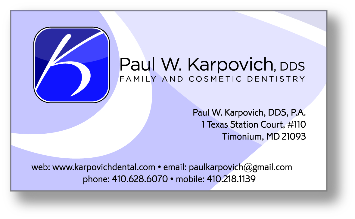 Business Card Design by Steven Hall for karpovich dental business card design - Design #60258
