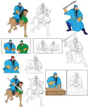 Illustration Design job – Guan yu in 'Three Kingdom Saga' illustration project – Winning design by gigibgm