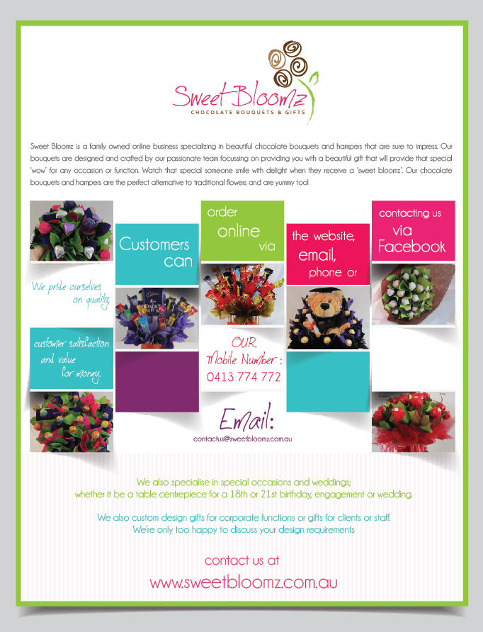 modern upmarket wedding flyer design for sweet bloomz by