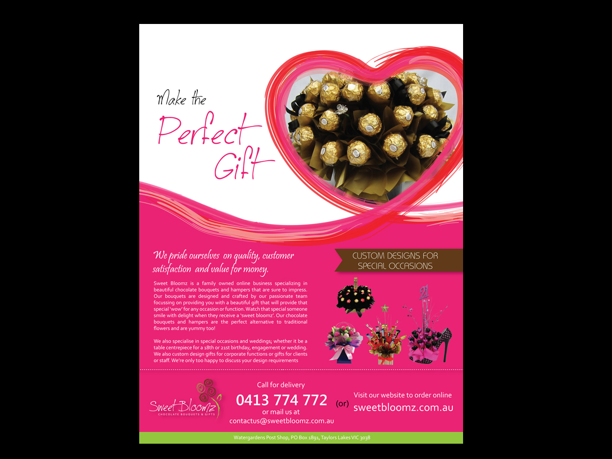 Modern, Upmarket Flyer Design for Sweet Bloomz by Eva ...