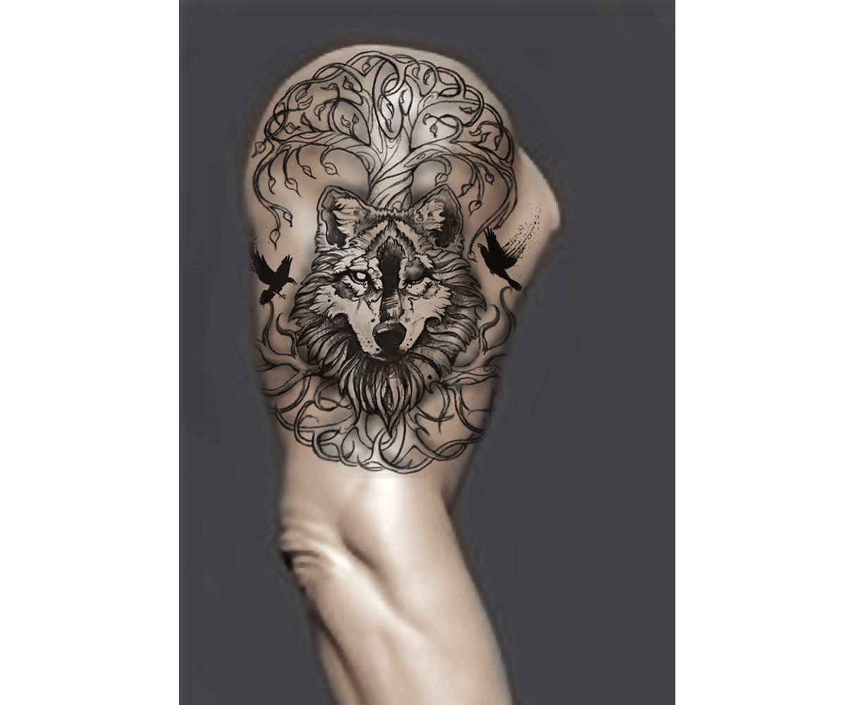 wolf tree of life tattoo design   20 Tattoo Designs für eine Firma ...