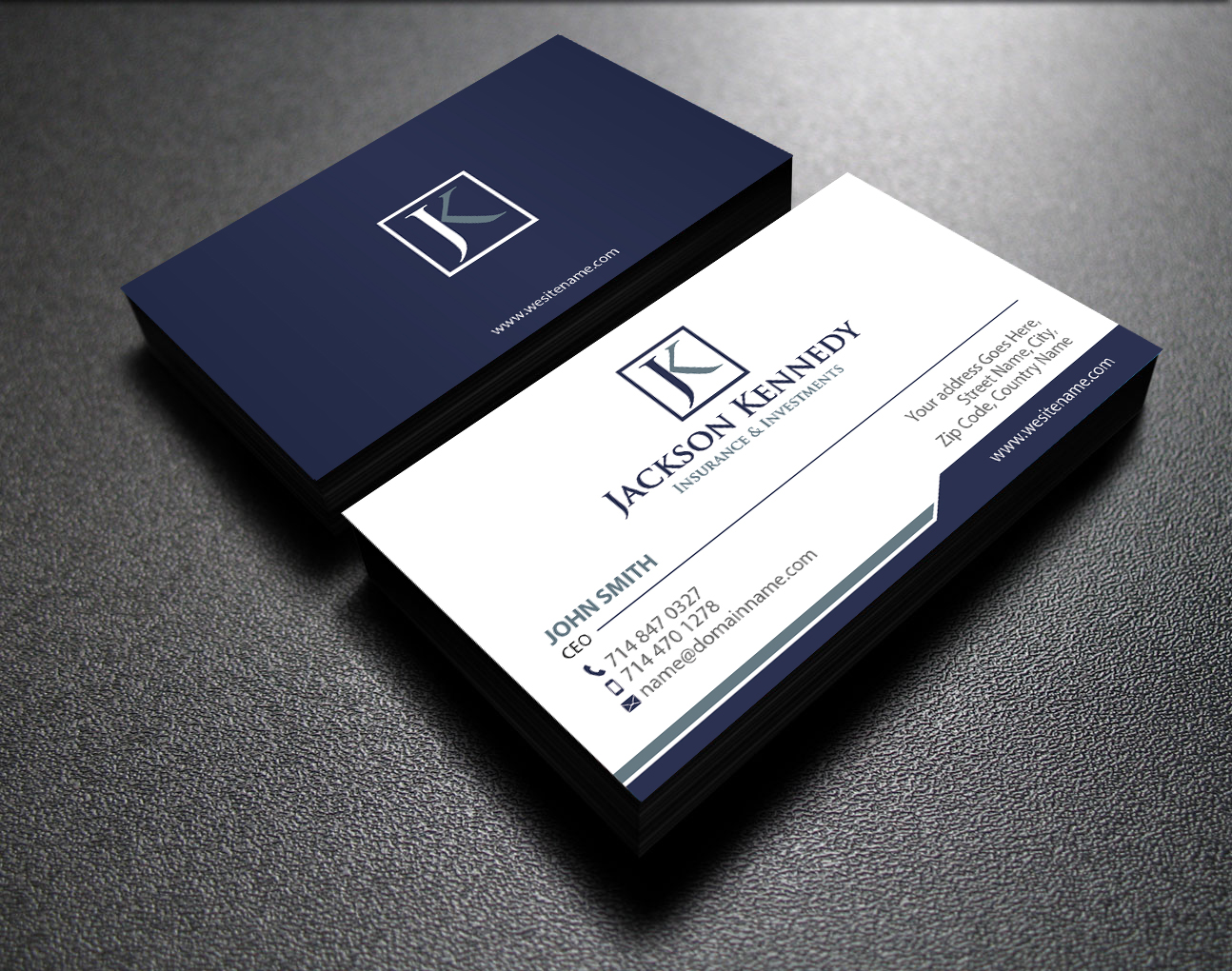 serious professional investment business card design for