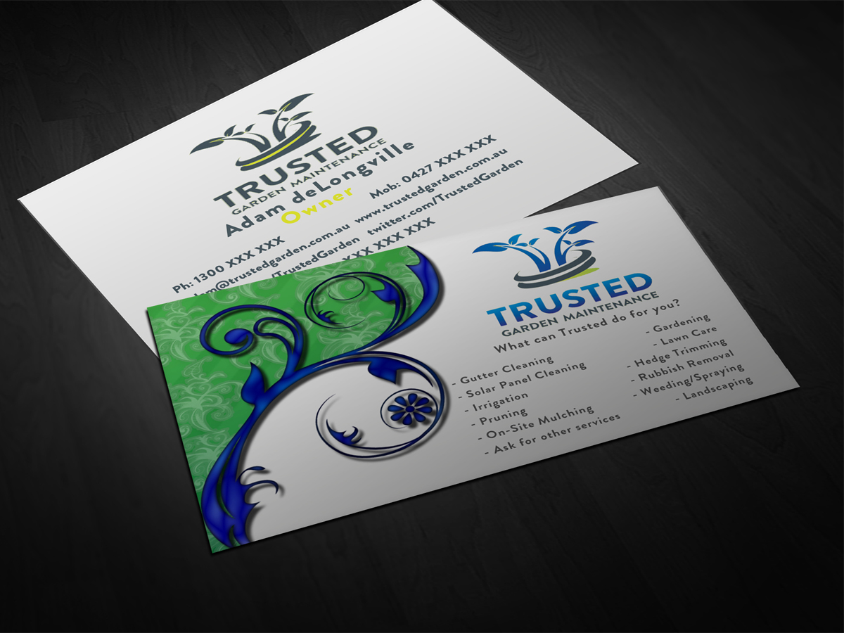 slate garden premade business card design can be customized gray ...