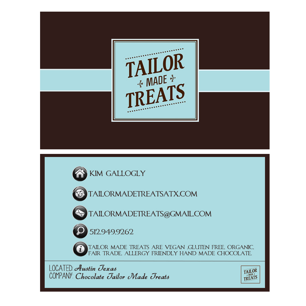 Upmarket bold business card design for tailor made treats by business card design by cebanu elena for new business card for chocolate company magicingreecefo Image collections