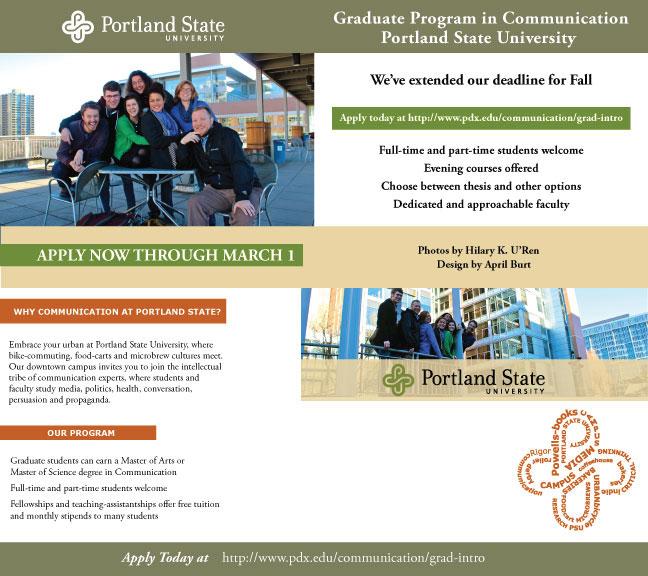 Grad School Flyer 4 Print Designs For Portland State University