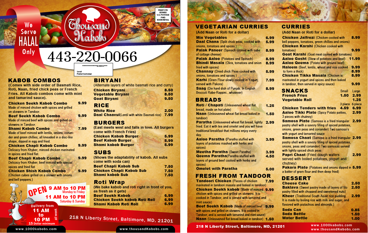 Thousand kabobs menu design contest brief