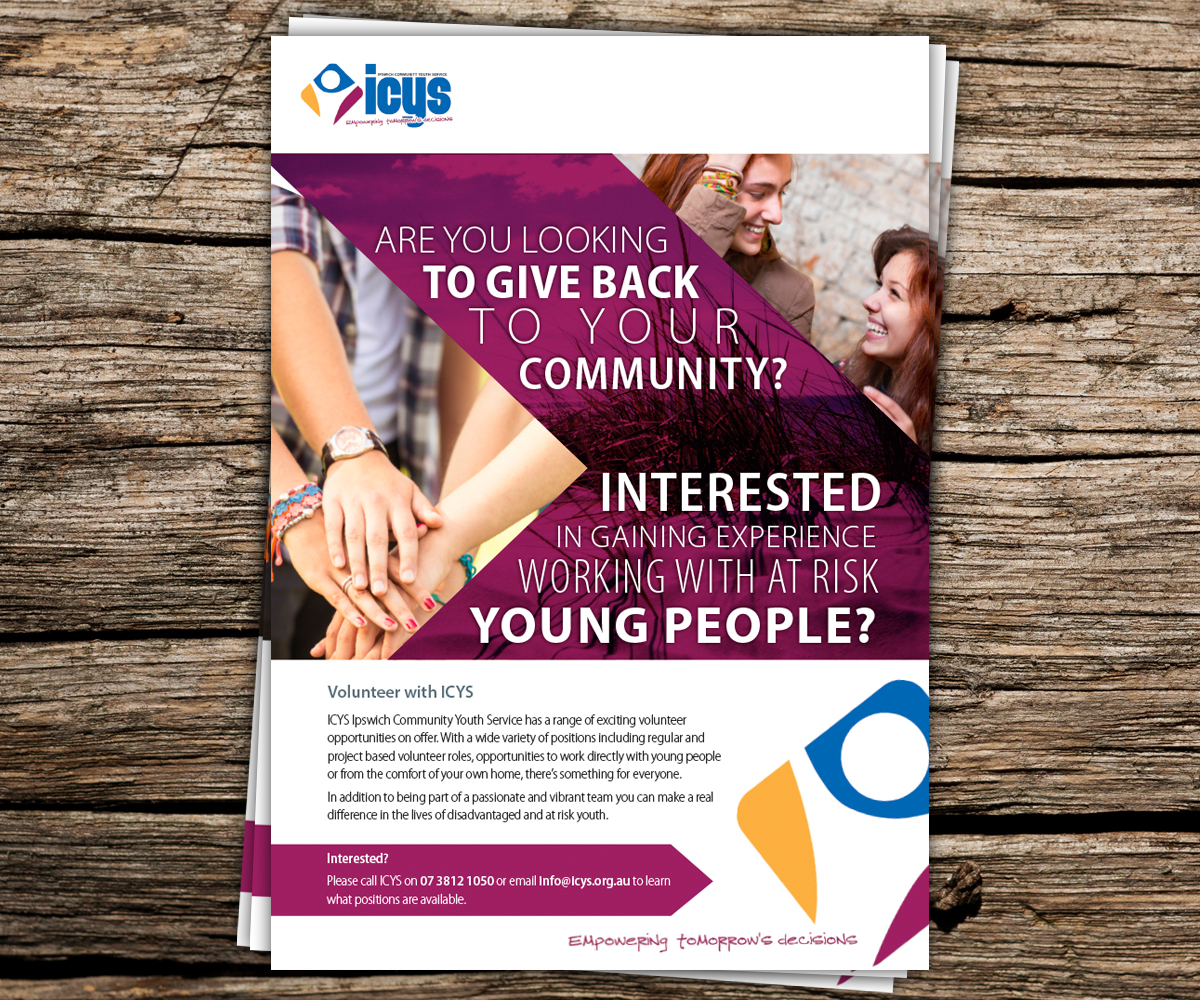 work flyer design for icys ipswich community youth service inc by