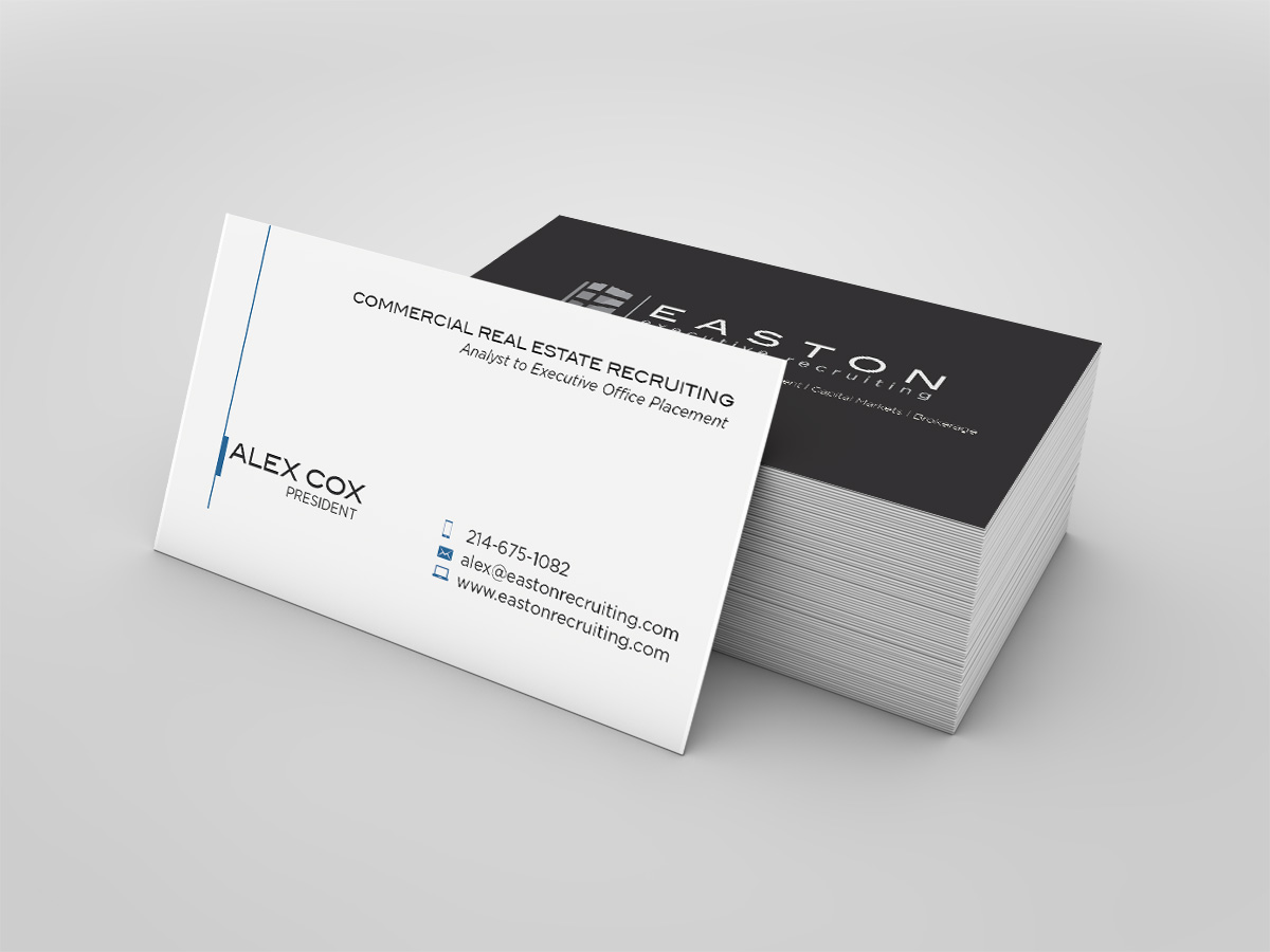 Elegant traditional business card design for alex cox by nurmania business card design by nurmania for commercial real estate executive recruiting firm needs business card design magicingreecefo Gallery